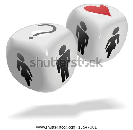Concepts on 2 shiny dice cubes: Luck; Love; People; Gamble; Risk; Randomness; Romance