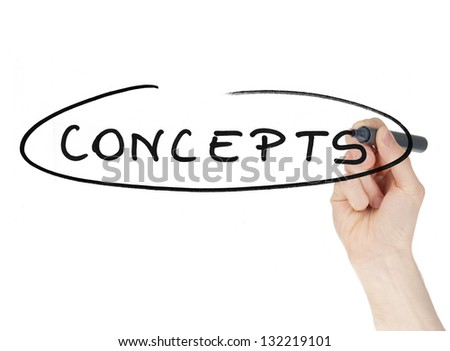 Concepts sign written by a hand holding felt tip pen isolated on white background