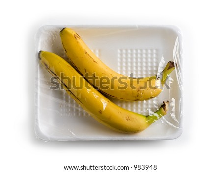 Conceptual abstract representation of banana's in meat package.