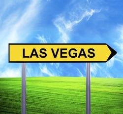 Conceptual arrow sign against beautiful landscape with text - LAS VEGAS