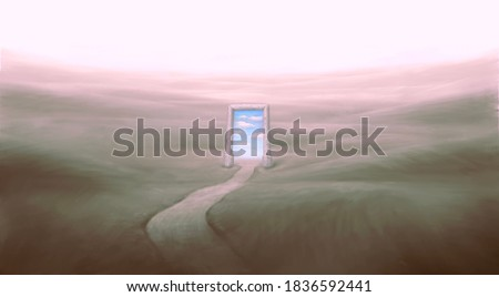Conceptual artwork, hope ambition success life imagination happiness spiritual and freedom concept , sky in surreal door with surreal landscape, painting art, imagination illustration