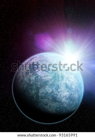 Conceptual artwork of  Kepler 20f earth like planet recently discovered. A distant sun flares over its crest.