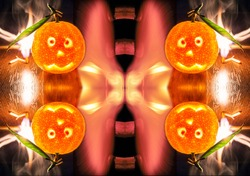 Conceptual background for Christmas from fire and kaleidoscopic view of mandarines