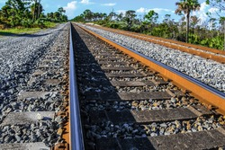 Conceptual background of railroad tracks converging into the distance in a scrubland of the Jonathan Dickinson Florida State Park.