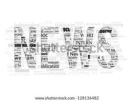 Conceptual background of the word NEWS type printing press