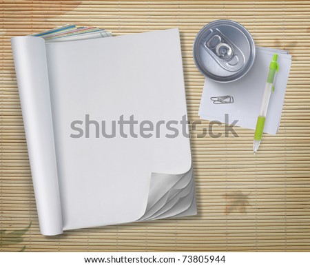 conceptual blank book with soda can and pen over wooden background #73805944