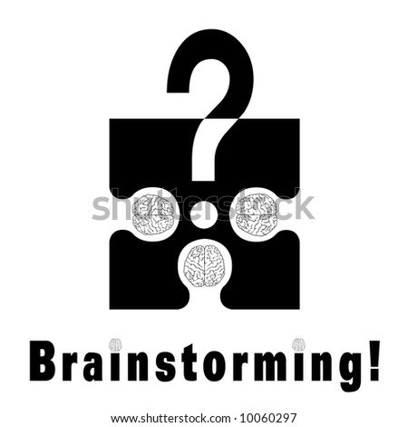 Conceptual brainstorming symbol composed by a puzzle piece and three human brains. They struggle to find the solution of their problems. The dots on I litters are two brains