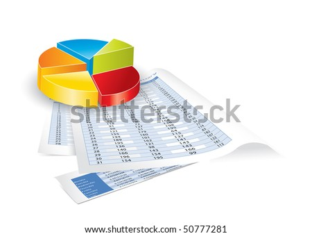 Conceptual business earnings reports and charts