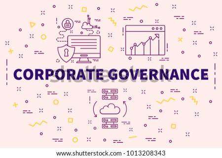 Conceptual business illustration with the words corporate governance