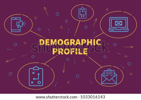 Conceptual business illustration with the words demographic profile
