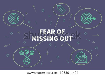 Conceptual business illustration with the words fear of missing out