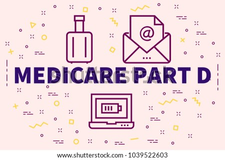Conceptual business illustration with the words medicare part d Photo stock ©