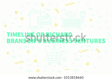 Conceptual business illustration with the words timeline of richard branson's business ventures Stock photo ©