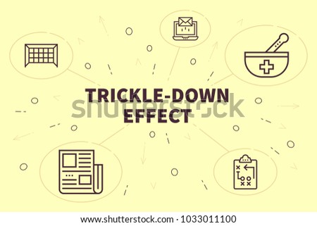 Conceptual business illustration with the words trickle-down effect ストックフォト ©