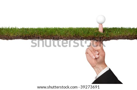 conceptual business image with golf ball  of taking a risk or many other concepts