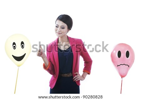 Conceptual business photo of business woman with happy and sad customers face isolated on white