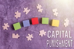 Conceptual caption Capital Punishment. Business concept authorized killing of someone as punishment for a crime Stack of Sample Cube Rectangular Boxes On Surface Polished With Multi-Colour