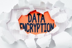 Conceptual caption Data Encryption. Conceptual photo Symmetrickey algorithm for the encrypting electronic data Breaking Writers Block, Presenting Different Result, Display A New Approach