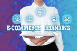 Conceptual caption E Commerce Branding. Word Written on establish an image of your company in ycustomers eyes Lady Uniform Standing Tablet Hand Presenting Virtual Modern Technology