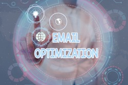 Conceptual caption Email Optimization. Word for email marketer to maximize the effectiveness of campaign Lady In Uniform Holding Tablet In Hand Virtually Tapping Futuristic Tech.