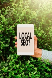 Conceptual caption Local Seoquestion. Business idea incredibly effective way to market your local business online Voice And Video Calling Capabilities Connecting People Together