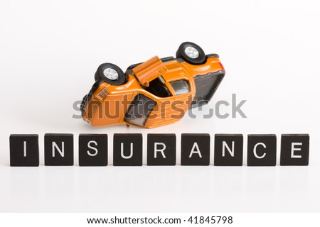 Conceptual car insurance using letters alphabet and car model