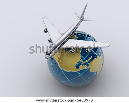 stock photo : Conceptual chromed airplane on Earth globe - 3d render
