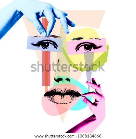 Conceptual collage - hands make up the face of a girl on a white background. Isolated.