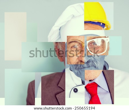 Conceptual collage image of one man with different professions