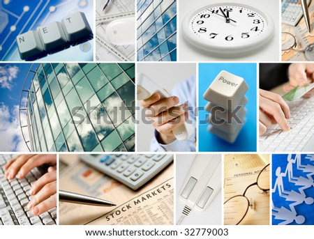 Conceptual collage of business images