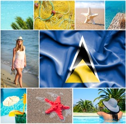 Conceptual collage of summer vacation in Saint Lucia