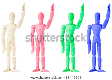 Conceptual colorful Wooden dummy on the white background
