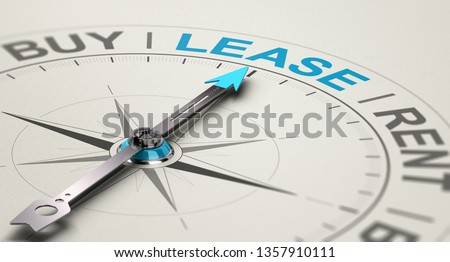 Conceptual compass with needle pointing the word lease. Concept of choosing between buying, renting or leasing a car or an equipment. 3D illustration Imagine de stoc ©