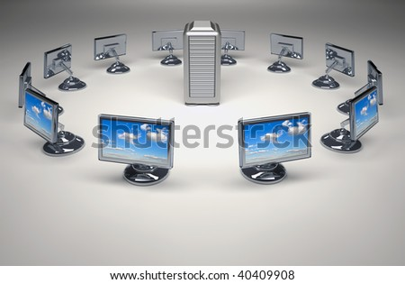 Conceptual computer network in circle with server in center - 3d render