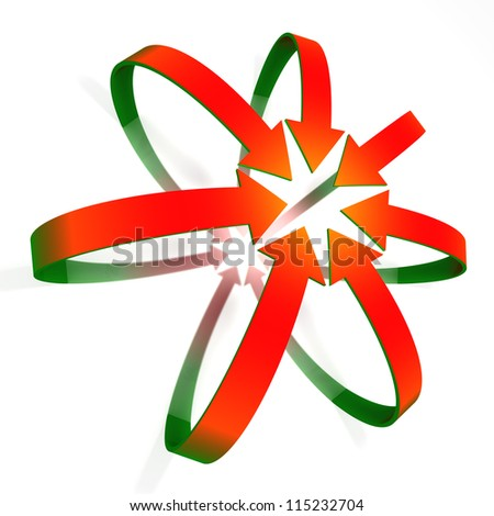 Conceptual convergent red to green gradient 3d arrows isolated on white background