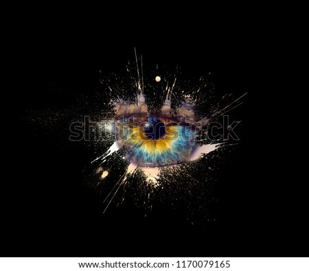 Conceptual creative photo of a female eye close-up in the form of splashes, explosion and dripping paint isolated on a black background. Female eye close-up with spray paint around.