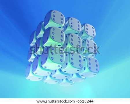 Conceptual cube structure of dice - rendered in 3d