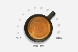 Conceptual Cup of Espresso Coffee Music Volume Knob