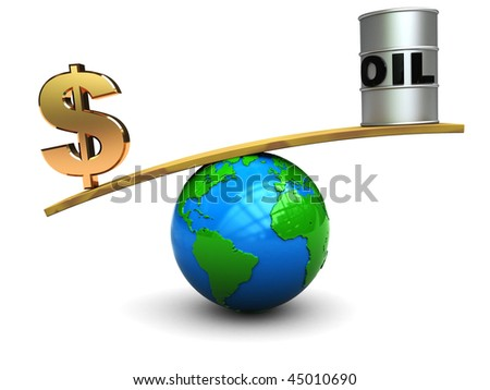 conceptual 3d illustration of dollar sign and barrel on scale