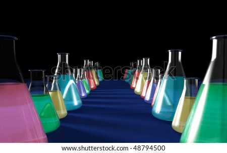 Conceptual 3D illustration of rows of laboratory flasks filled with colorful liquids Isolated on black blue background with copyspace