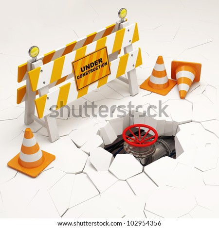 Conceptual 3d Illustration of Under Construction