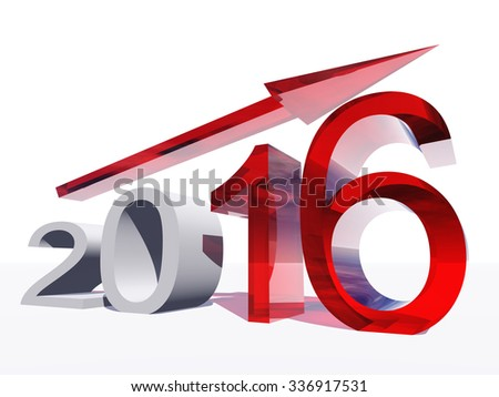 Conceptual 3D red 2016 year symbol with an arrow isolated on white for success, growth, graph, future, finance, financial, new year, holiday, increase, rise, date, career, forecast progress december