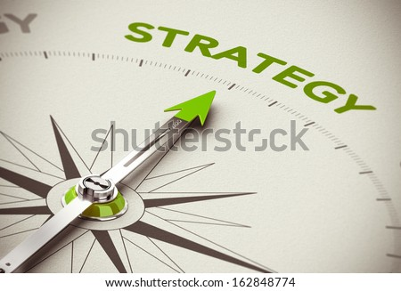 Conceptual 3D render image with depth of field blur effect. Compass needle pointing the green word strategy over natural paper background.