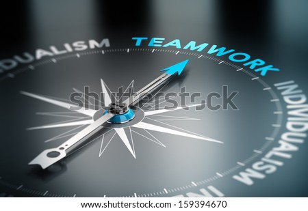 Conceptual 3D render image with depth of field blur effect. Compass with the needle pointing the word teamwork, Concept of unity versus individualism.