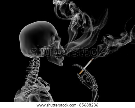Conceptual 3d render the effects of nicotine smoking - stock photo