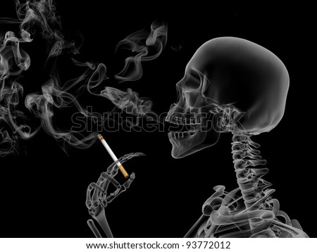 Conceptual 3d render the effects of nicotine smoking