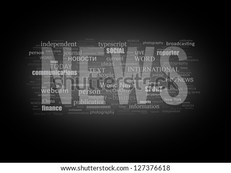 Conceptual dark background of the word NEWS type printing press