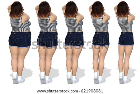 Conceptual dieting fat or overweight obese female vs slim fit with muscles on healthy diet young woman body in shape after fitness isolated on white background. Weight loss or health 3D illustration