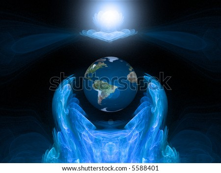 conceptual digital illustration, expressing love and care for planet earth