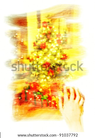 Conceptual digital watercolour painting on canvas of a child's hand wiping a window to see a christmas tree - stock photo